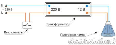 Почему перегорели галогенные лампы при подключении к трансформатору?