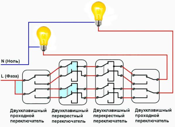 Как подключить двухклавишный выключатель: схема, видео