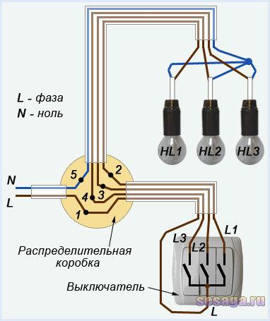 Как правильно подключить трехклавишный выключатель lezard?