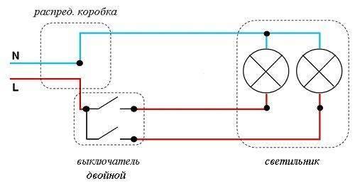 Почему двухклавишный выключатель включает только люстру, вторая группа не работает?