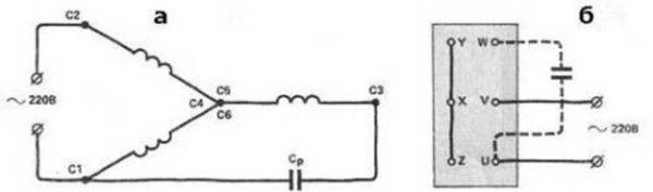 Подключение трехфазного двигателя к однофазной сети