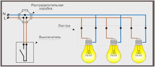 Люстра и точечные светильники на одном двухклавишном выключателе