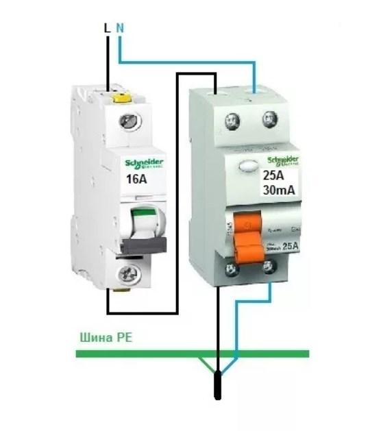Как лучше и правильно ставить автомат: до УЗО или после него?