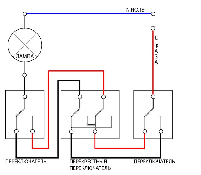 Переключатели на два направления: схема подключения