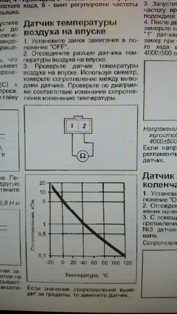 Датчик температуры всасываемого воздуха: проверка