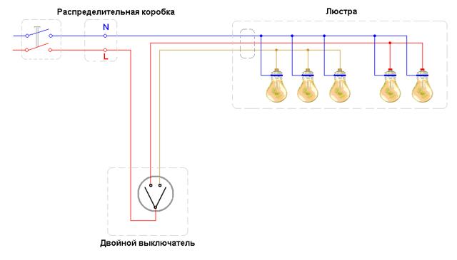 Схема подключения пятирожковой люстры к выключателю (2 варианта)