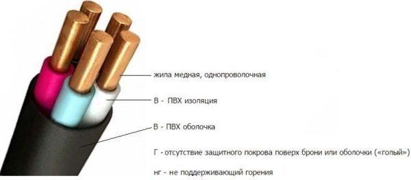 Кабель ВВГНГ: конструкция, маркировка, основные характеристики