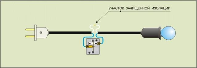 Как подключить к проводам патрон с натяжным выключателем?
