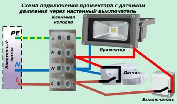 Как сделать, чтобы светильник и прожектор работали от датчика движения?