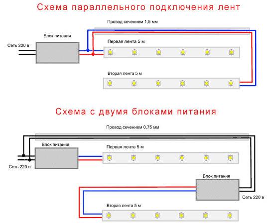 Как подключить несколько светодиодных лент к одному блоку питания?