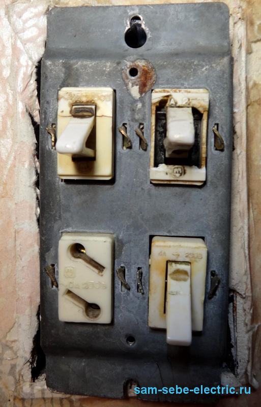 Как подключить розетку и выключатель в одном блоке вместо старого выключателя?