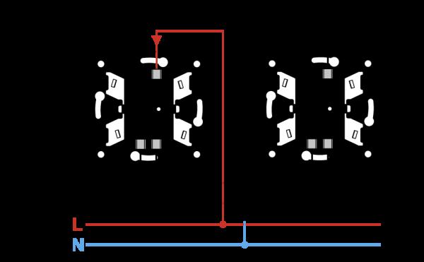 Какова схема подключения 4 групп светильников от одного выключателя?