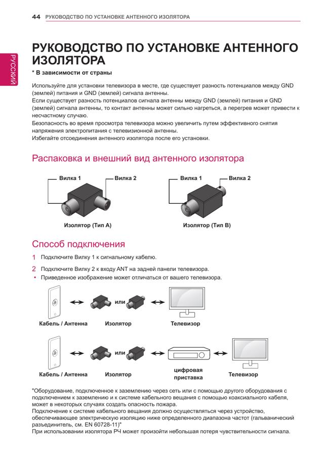 Почему срабатывает УЗО при подключении антенны к телевизору?