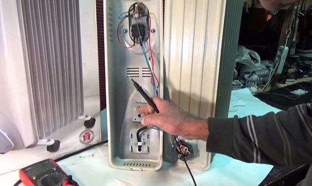 Закоротил провод в масляном обогревателе — как отремонтировать?
